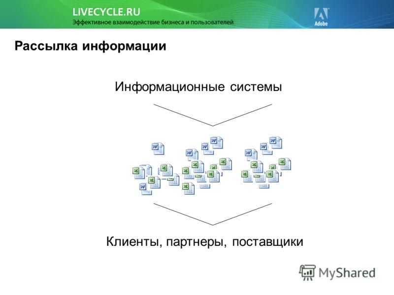 Рассылка информации Информационные системы Клиенты, партнеры, поставщики
