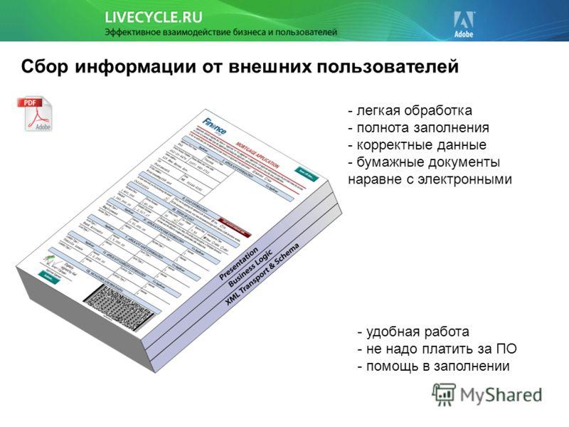 Сбор информации от внешних пользователей - легкая обработка - полнота заполнения - корректные данные - бумажные документы наравне с электронными - удобная работа - не надо платить за ПО - помощь в заполнении