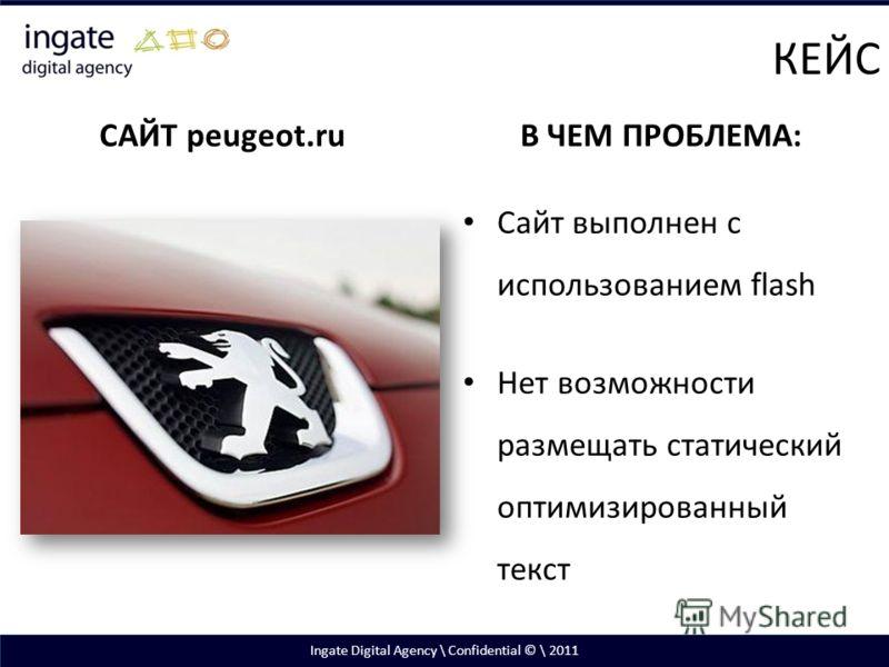 САЙТ peugeot.ruВ ЧЕМ ПРОБЛЕМА: Сайт выполнен с использованием flash Нет возможности размещать статический оптимизированный текст КЕЙС