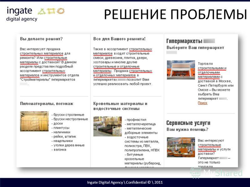 Ingate Digital Agency \ Confidential © \ 2011 РЕШЕНИЕ ПРОБЛЕМЫ