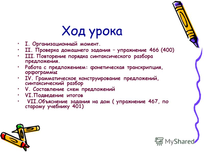 Ход урока I. Организационный момент. II. Проверка домашнего задания – упражнение 466 (400) III. Повторение порядка синтаксического разбора предложения. Работа с предложением: фонетическая транскрипция, орфограммы IV. Грамматическое конструирование пр