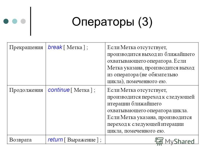 Операторы (3) Прекращения break [ Метка ] ; Если Метка отсутствует, производится выход из ближайшего охватывающего оператора. Если Метка указана, производится выход из оператора (не обязательно цикла), помеченного ею. Продолжения continue [ Метка ] ;