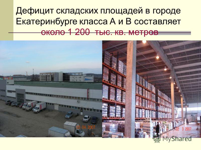Дефицит складских площадей в городе Екатеринбурге класса А и В составляет около 1 200 тыс. кв. метров