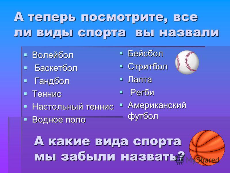А теперь посмотрите, все ли виды спорта вы назвали Волейбол Волейбол Баскетбол Баскетбол Гандбол Гандбол Теннис Теннис Настольный теннис Настольный теннис Водное поло Водное поло Бейсбол Бейсбол Стритбол Стритбол Лапта Лапта Регби Регби Американский