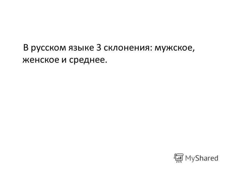 В русском языке 3 склонения: мужское, женское и среднее.