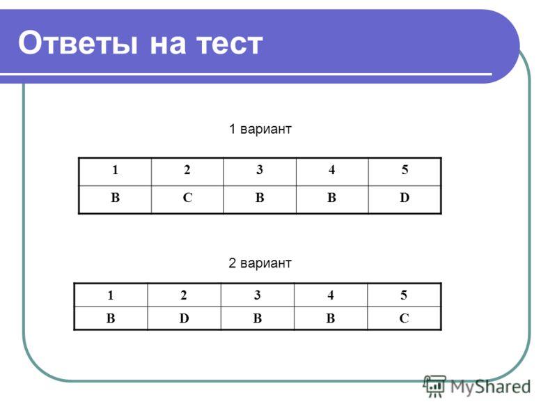 1 вариант 2 вариант Ответы на тест 12345 BCBBD 12345 BDBBC