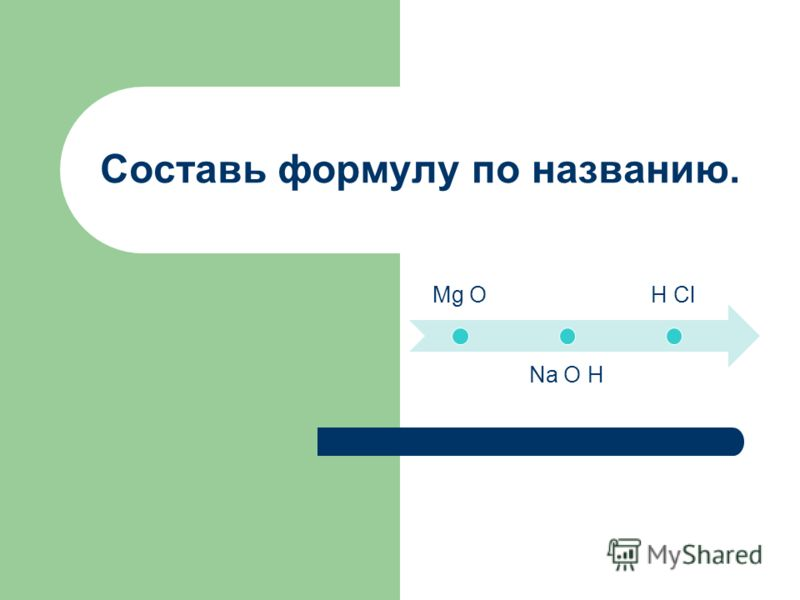 Mg O Na O H H Cl Составь формулу по названию.
