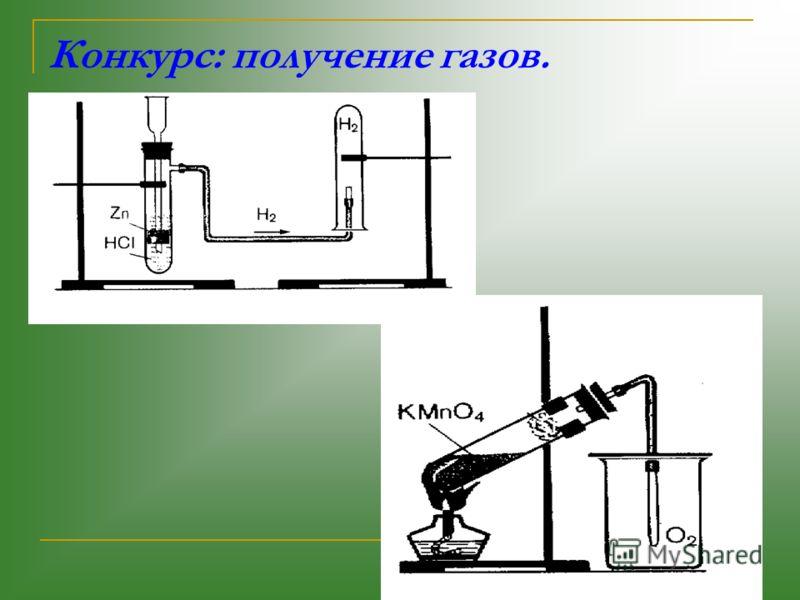 Конкурс: получение газов.