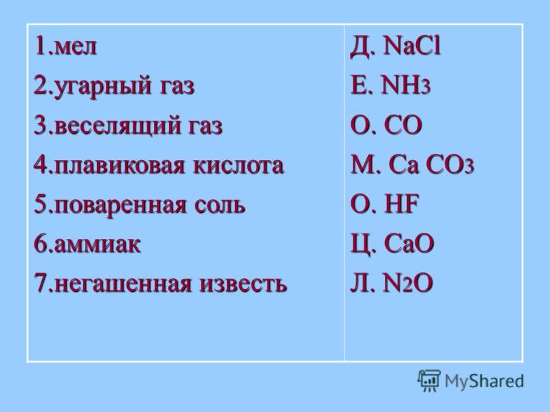 1.мел 2.угарный газ 3.веселящий газ 4.плавиковая кислота 5.поваренная соль 6.аммиак 7.негашенная известь Д. NaCl Е. NH 3 О. CO М. Ca CO 3 О. HF Ц. CaO Л. N 2 O