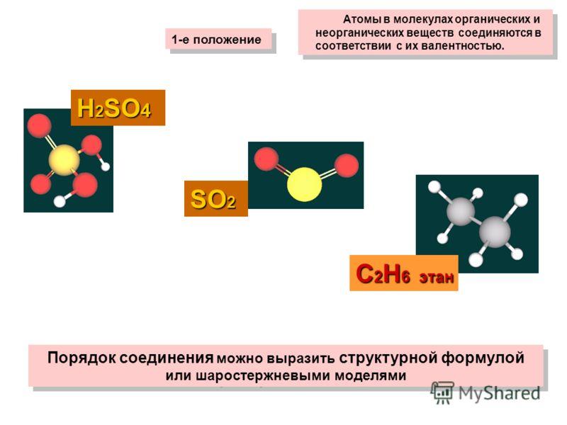 Атомы в молекулах органических и неорганических веществ соединяются в соответствии с их валентностью. 1-е положение SО2SО2SО2SО2 Н 2 SO 4 С 2 Н 6 этан Порядок соединения можно выразить структурной формулой или шаростержневыми моделями