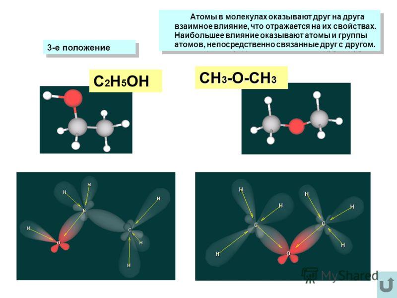 Атомы в молекулах оказывают друг на друга взаимное влияние, что отражается на их свойствах. Наибольшее влияние оказывают атомы и группы атомов, непосредственно связанные друг с другом. Атомы в молекулах оказывают друг на друга взаимное влияние, что о