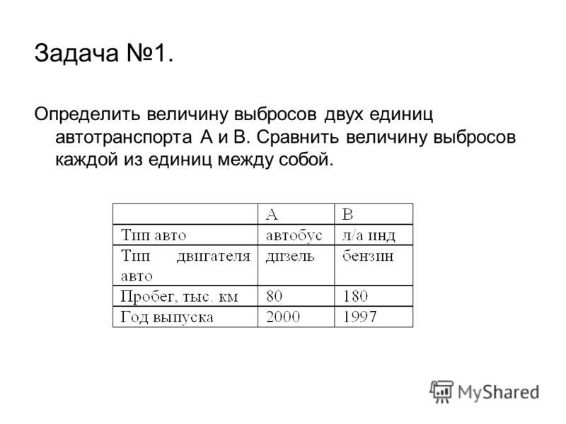 Задача 1. Определить величину выбросов двух единиц автотранспорта А и В. Сравнить величину выбросов каждой из единиц между собой.