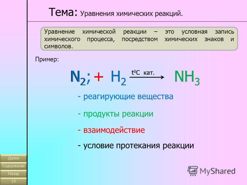 Уравнение химической реакции – это условная запись химического процесса, посредством химических знаков и символов. Пример: N2N2 +H2H2 NH 3 t 0 C кат. Тема: Уравнения химических реакций. N2;N2;+H2H2 NH 3 t 0 C кат. - реагирующие вещества - продукты ре