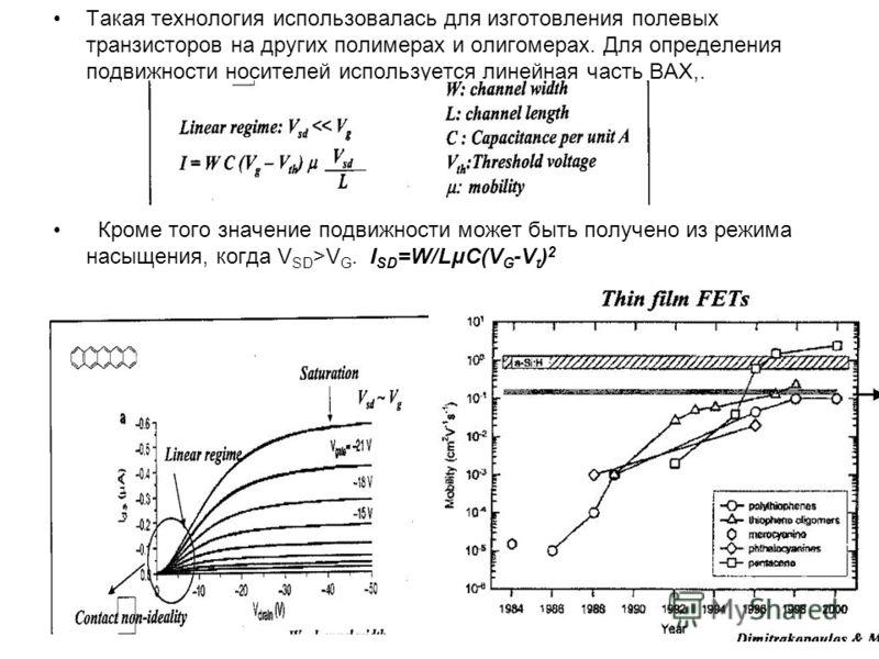 Такая технология использовалась для изготовления полевых транзисторов на других полимерах и олигомерах. Для определения подвижности носителей используется линейная часть ВАХ,. Кроме того значение подвижности может быть получено из режима насыщения, к