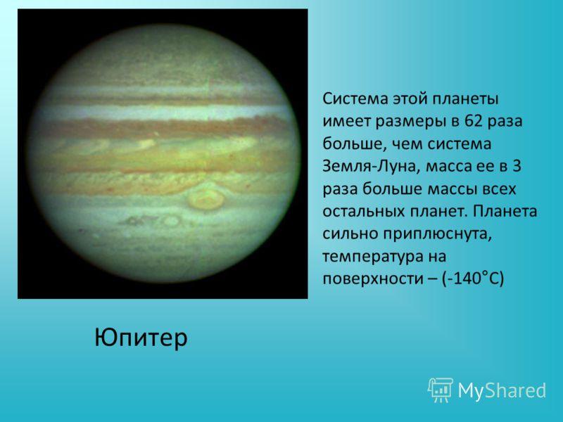 Система этой планеты имеет размеры в 62 раза больше, чем система Земля-Луна, масса ее в 3 раза больше массы всех остальных планет. Планета сильно приплюснута, температура на поверхности – (-140°С) Юпитер