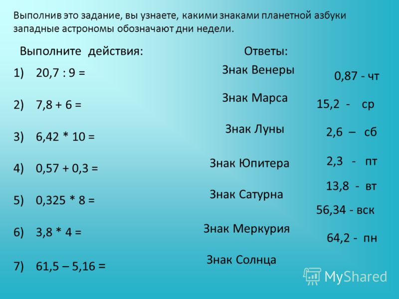 Выполните действия: Выполнив это задание, вы узнаете, какими знаками планетной азбуки западные астрономы обозначают дни недели. Ответы: 56,34 - вск 64,2 - пн 13,8 - вт 0,87 - чт 2,3 - пт 2,6 – сб 15,2 - ср Знак Марса Знак Луны Знак Юпитера Знак Сатур