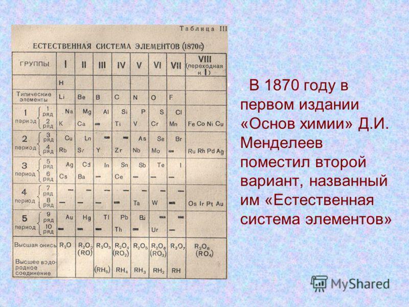 . В 1870 году в первом издании «Основ химии» Д.И. Менделеев поместил второй вариант, названный им «Естественная система элементов»