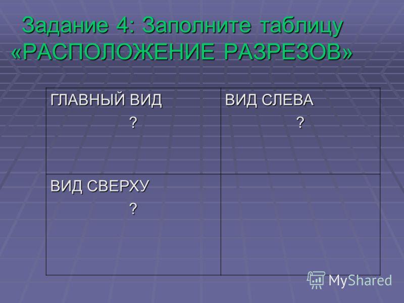 Задание 4: Заполните таблицу «РАСПОЛОЖЕНИЕ РАЗРЕЗОВ» ГЛАВНЫЙ ВИД ? ВИД СЛЕВА ? ВИД СВЕРХУ ?