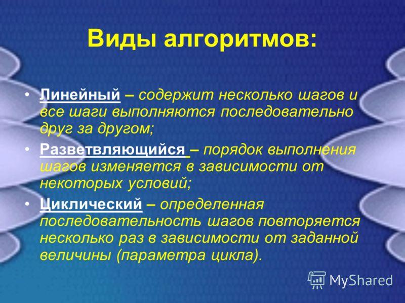 Виды алгоритмов: Линейный – содержит несколько шагов и все шаги выполняются последовательно друг за другом; Разветвляющийся – порядок выполнения шагов изменяется в зависимости от некоторых условий; Циклический – определенная последовательность шагов