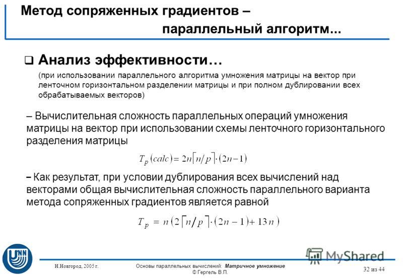 Н.Новгород, 2005 г. Основы параллельных вычислений: Матричное умножение © Гергель В.П. 32 из 44 Анализ эффективности… (при использовании параллельного алгоритма умножения матрицы на вектор при ленточном горизонтальном разделении матрицы и при полном