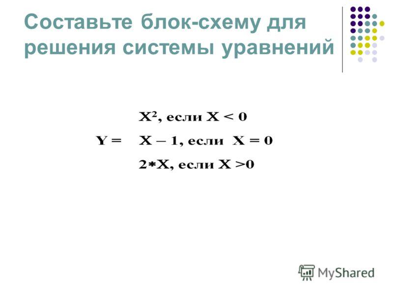 Составьте блок-схему для решения системы уравнений
