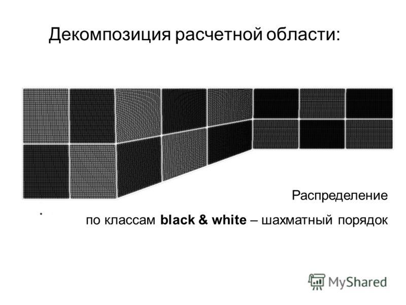 Декомпозиция расчетной области: Распределение по классам black & white – шахматный порядок