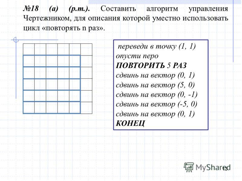 13 18 (а) (р.т.). Составить алгоритм управления Чертежником, для описания которой уместно использовать цикл «повторять n раз». переведи в точку (1, 1) опусти перо ПОВТОРИТЬ 5 РАЗ сдвинь на вектор (0, 1) сдвинь на вектор (5, 0) сдвинь на вектор (0, -1