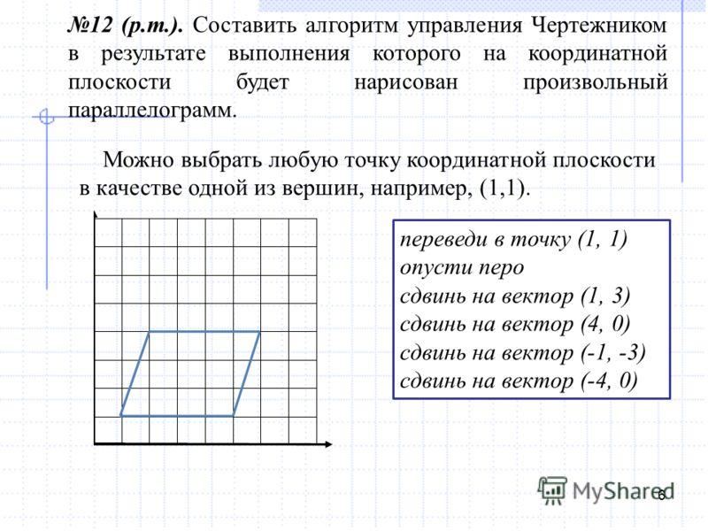 6 12 (р.т.). Составить алгоритм управления Чертежником в результате выполнения которого на координатной плоскости будет нарисован произвольный параллелограмм. Можно выбрать любую точку координатной плоскости в качестве одной из вершин, например, (1,1