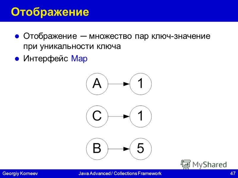 47Georgiy KorneevJava Advanced / Collections Framework Отображение Отображение множество пар ключ-значение при уникальности ключа Интерфейс Map