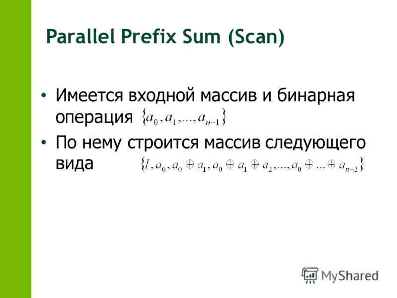 Имеется входной массив и бинарная операция По нему строится массив следующего вида Parallel Prefix Sum (Scan)