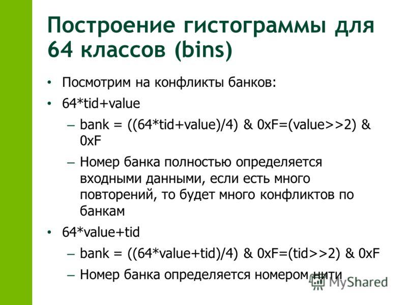Построение гистограммы для 64 классов (bins) Посмотрим на конфликты банков: 64*tid+value – bank = ((64*tid+value)/4) & 0xF=(value>>2) & 0xF – Номер банка полностью определяется входными данными, если есть много повторений, то будет много конфликтов п
