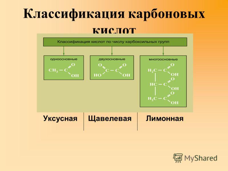 Классификация карбоновых кислот Уксусная Щавелевая Лимонная