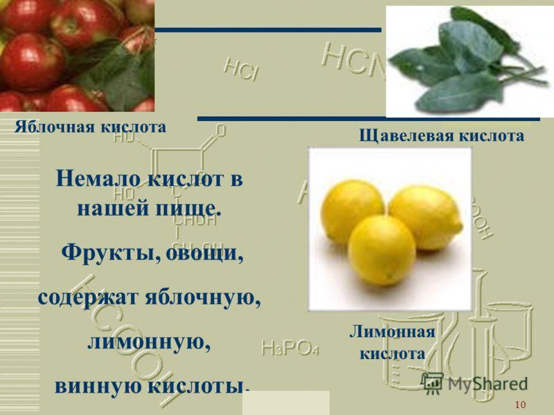 Москва 200210 Немало кислот в нашей пище. Фрукты, овощи, содержат яблочную, лимонную, винную кислоты. Щавелевая кислота Лимонная кислота Яблочная кислота