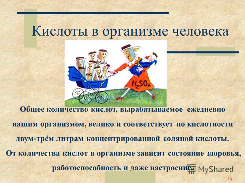 Москва 200212 Кислоты в организме человека Общее количество кислот, вырабатываемое ежедневно нашим организмом, велико и соответствует по кислотности двум-трём литрам концентрированной соляной кислоты. От количества кислот в организме зависит состояни