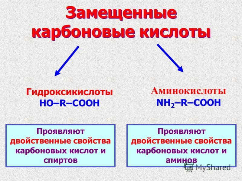 Замещенные карбоновые кислоты Гидроксикислоты HO–R–COOH Аминокислоты NH 2 –R–COOH Проявляют двойственные свойства карбоновых кислот и спиртов Проявляют двойственные свойства карбоновых кислот и аминов