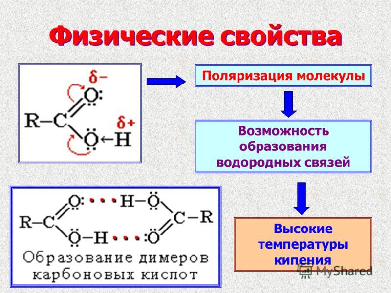 Физические свойства Поляризация молекулы Возможность образования водородных связей Высокие температуры кипения