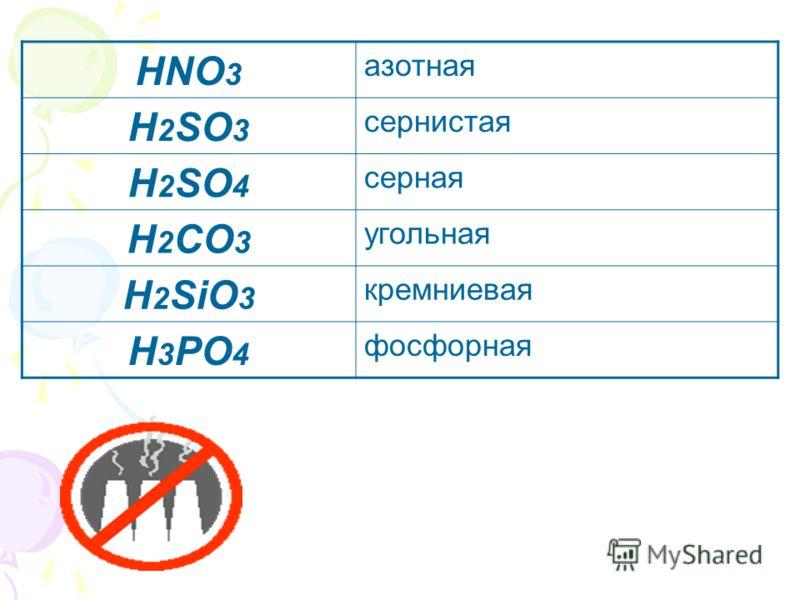 HNO 3 азотная H 2 SO 3 сернистая H 2 SO 4 серная H 2 CO 3 угольная H 2 SiO 3 кремниевая H 3 PO 4 фосфорная