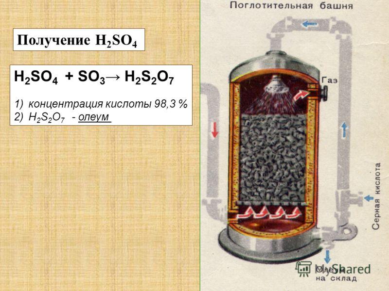 Получение H 2 SO 4 H 2 SO 4 + SO 3 H 2 S 2 O 7 1)концентрация кислоты 98,3 % 2)Н 2 S 2 O 7 - олеум