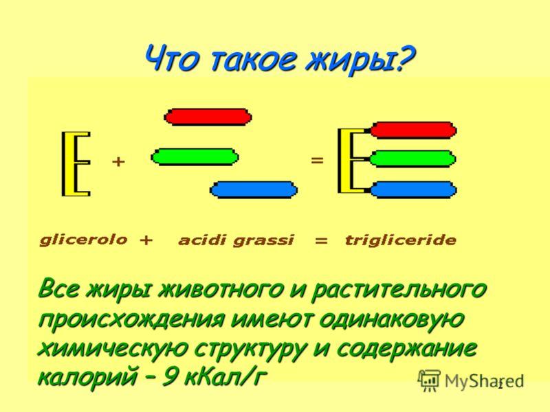 2 Что такое жиры? Все жиры животного и растительного происхождения имеют одинаковую химическую структуру и содержание калорий – 9 кКал/г