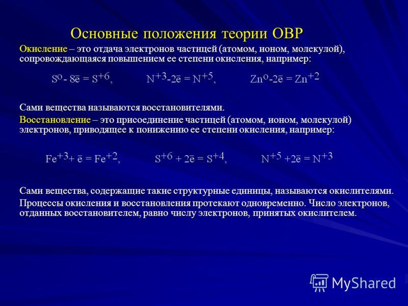 План лекции 1. Основные положения электронной теории ОВР 2. Типы ОВР 3. Важнейшие окислители и восстановители 4. Составление уравнений ОВР. а) электронный баланс а) электронный баланс б) ионно-электронный метод б) ионно-электронный метод 5. Прогнозир