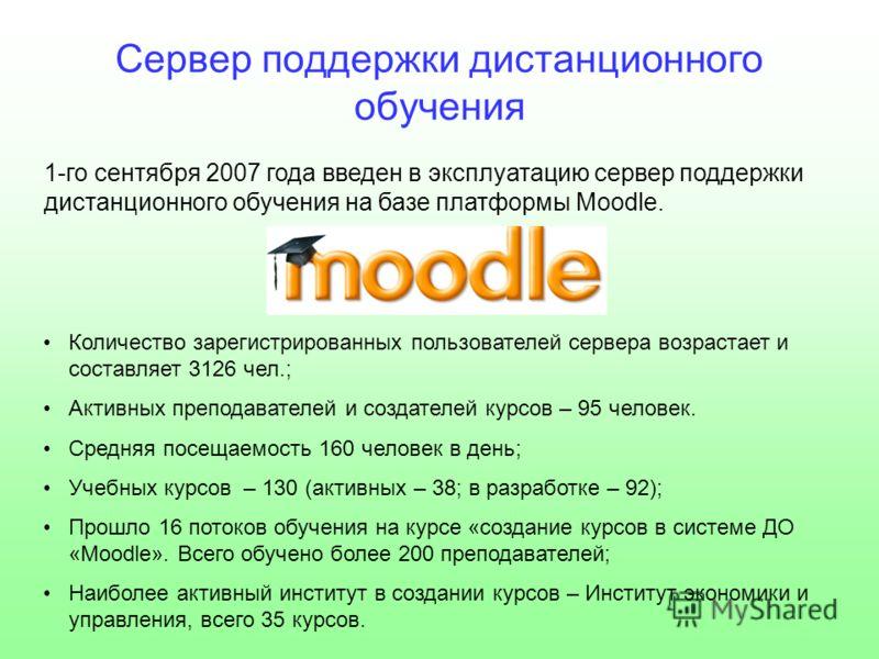 Сервер поддержки дистанционного обучения 1-го сентября 2007 года введен в эксплуатацию сервер поддержки дистанционного обучения на базе платформы Moodle. Количество зарегистрированных пользователей сервера возрастает и составляет 3126 чел.; Активных