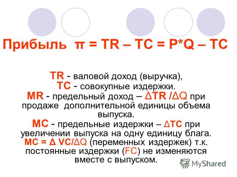 Прибыль π = TR – TC = P*Q – TC TR - валовой доход (выручка), TC - совокупные издержки. MR - предельный доход – ΔTR /ΔQ при продаже дополнительной единицы объема выпуска. МС - предельные издержки – ΔTС при увеличении выпуска на одну единицу блага. МС