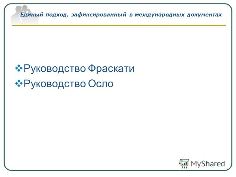 Единый подход, зафиксированный в международных документах Руководство Фраскати Руководство Осло