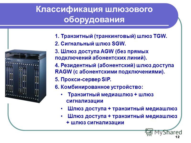 12 Классификация шлюзового оборудования 1. Транзитный (транкинговый) шлюз TGW. 2. Сигнальный шлюз SGW. 3. Шлюз доступа AGW (без прямых подключений абонентских линий). 4. Резидентный (абонентский) шлюз доступа RAGW (с абонентскими подключениями). 5. П