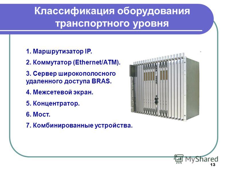 13 Классификация оборудования транспортного уровня 1. Маршрутизатор IP. 2. Коммутатор (Ethernet/АТМ). 3. Cервер широкополосного удаленного доступа BRAS. 4. Межсетевой экран. 5. Концентратор. 6. Мост. 7. Комбинированные устройства.