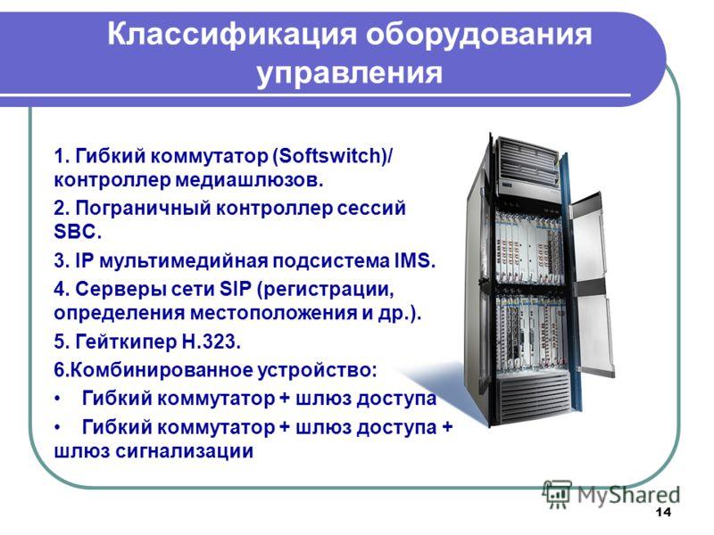 14 Классификация оборудования управления 1. Гибкий коммутатор (Softswitch)/ контроллер медиашлюзов. 2. Пограничный контроллер сессий SBC. 3. IP мультимедийная подсистема IMS. 4. Серверы сети SIP (регистрации, определения местоположения и др.). 5. Гей