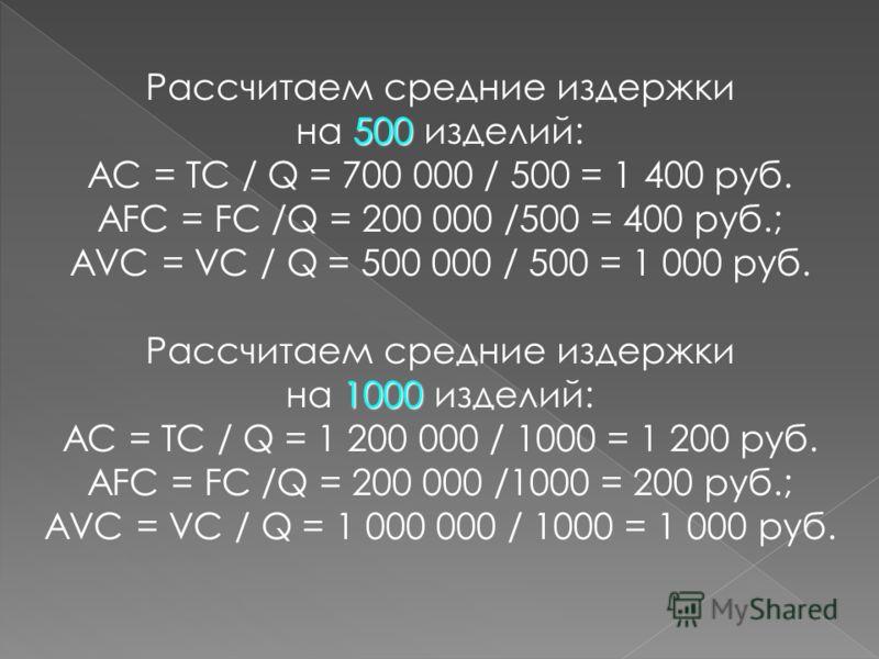 АС = ТС / Q AFC = FC /Q; AVC = VC / Q AVC = VC / Q. Рассчитаем средние издержки 100 на 100 изделий: АС = ТС / Q = 300 000 / 100 = 3 000 руб. AFC = FC /Q = 200 000 /100 = 2 000 руб.; AVC = VC / Q = 100 000 / 100 = 1 000 руб.
