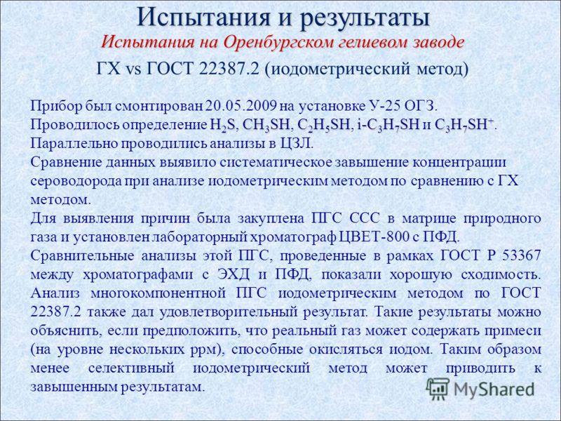 Испытания и результаты Испытания на Оренбургском гелиевом заводе ГХ vs ГОСТ 22387.2 (иодометрический метод) Прибор был смонтирован 20.05.2009 на установке У-25 ОГЗ. H 2 SCH 3 SHC 2 H 5 SHi-C 3 H 7 SHC 3 H 7 SH + Проводилось определение H 2 S, CH 3 SH