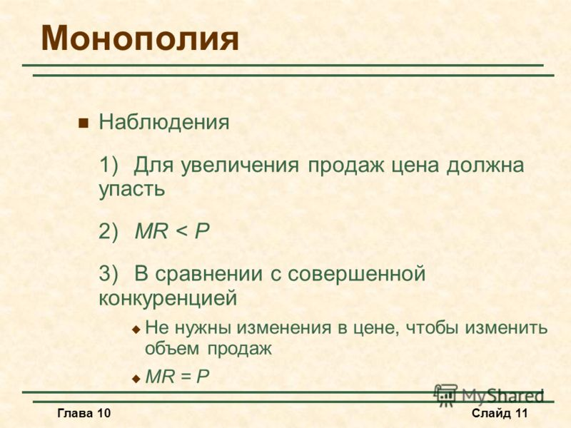 Глава 10Слайд 11 Монополия Наблюдения 1)Для увеличения продаж цена должна упасть 2)MR < P 3)В сравнении с совершенной конкуренцией Не нужны изменения в цене, чтобы изменить объем продаж MR = P