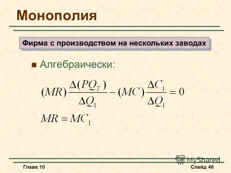 Глава 10Слайд 46 Монополия Алгебраически: Фирма с производством на нескольких заводах